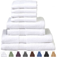 8 Piece Cotton Bath Towel Set in White with 2 Hand Towel & 4 Washcloths
