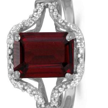 CERTIFIED 1.45 ctw 10k White Gold Solitaire Emerald-cut Gemstone And Diamond Ring