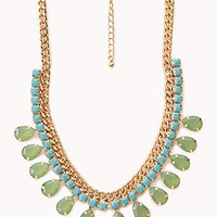 Teardrop Faux Gemstone Bib Necklace