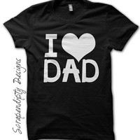 I Love Dad Shirt - Baby Girl Fathers Day Outfit / I Heart Dad Tshirt / Toddler Girl Clothes Top / Kid Boy Fathers Day Shirt / Baby Black Tee