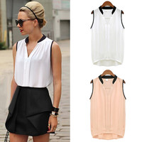Summer Women Casual Chiffon Blouses Solid Sleeveless Soft Shirts Women Tops Cheap High Quality Clothes V-neck Blusas Femininas