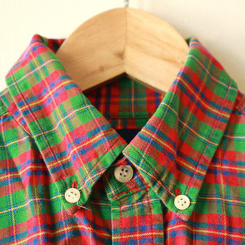 Vintage Gap Bright Red Green Plaid Shirt Mens Small