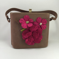 Unique Purse Handbag Pink Flowers Brown Revised Vintage