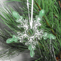 Clear Glass Snowflake Christmas Ornament, 3 Inch,Handmade Fused Glass Suncatcher
