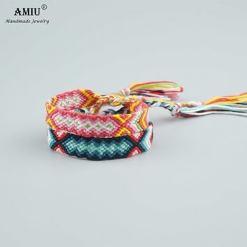 AMIU Handmade Bracelet Custom Cotton Wrap Popular Woven Rope String Friendship Bracelets For Women Men Dropshipping Bracelet