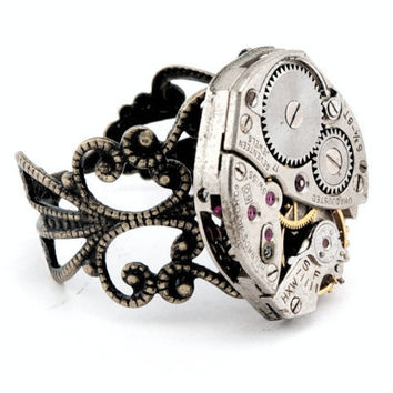 Watch Works Filigree Cocktail Ring by qacreate on Etsy