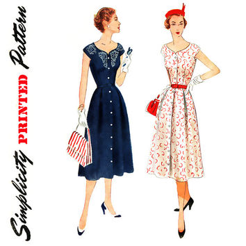1950s Dress Pattern Bust 36 Simplicity 3930 Front Button Fit and Flare Dress with Braid and Embroidery Trim Womens Vintage Sewing Pattern