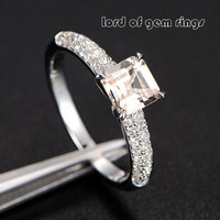 Asscher Morganite Engagement Ring Pave Diamond Wedding 14K White Gold