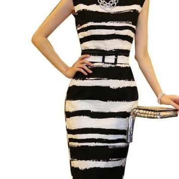 Women Buckled Sleeveless Stripes Women's Sheath Dress - Free Shipping - 60's in the House