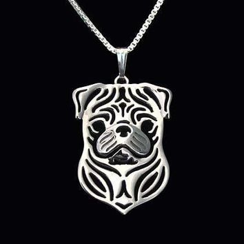 Pug Puppy Dog Cut Out Shaped Pendant Necklace in Silver | Animal Jewelry