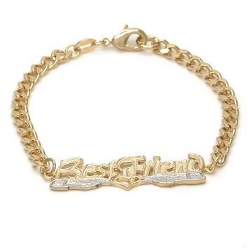 Gold Layered 03.32.0143.07 ID Bracelet, Heart and Curb Design, Polished Finish, Golden Tone