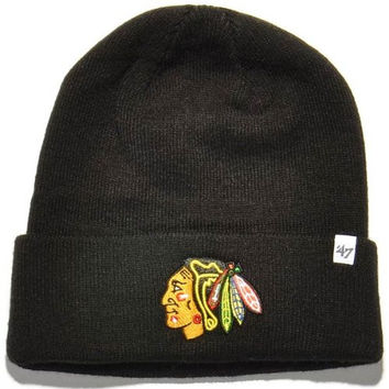 NHL Chicago Blackhawks '47 Raised Cuff Knit Hat, Black, One Size