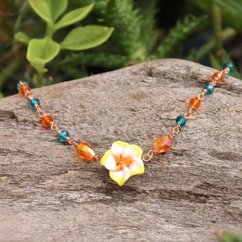 Plumeria Jewelry made in Hawaii - Plumeria Lei Jewelry from Hawaii - Hawaiian Plumeria Anklet - Flower Ankle Bracelet - Oahu Hawaii Jewelry