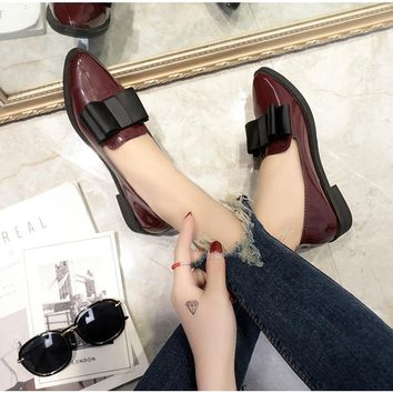 Flats Shoes  Loafers Patent Leather Elegant Low Heels Slip On  Female Pointed Toe