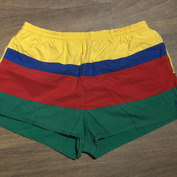 Vintage POLO by RALPH LAUREN Men's Swimming Trunks / Red Yellow Green Blue Stripes / Colorblock Swim Shorts / Trendy Men's Summer Fashion