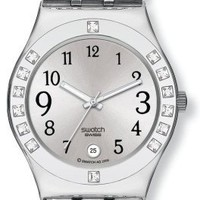 Swatch Women's YLS430C Quartz Stainless Steel Silver Dial Watch