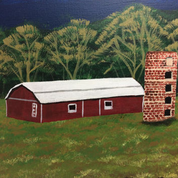 Red Barn Blue Mountain Landscape, Original Acrylic Canvas Painting, 18 x 24 Nature Art