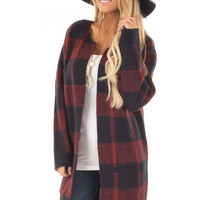 Navy and Burgundy Plaid Soft and Comfy Cardigan