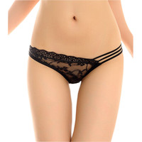Sexy Black Lace Flower Stretchy Sheer Panties Hipster G-String Thong Lingerie M
