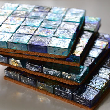Colored Glass Coasters, Mosaic Glass Tile Coasters, Artistic Coasters, Colorful Coasters, Shabby Chic Coasters
