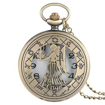 Lucky Bronze Virgo Pocket Watch Vintage Steampunk Style 12 Constellation Women's Mens Necklace Pendant with Chain Gifts Bag 2017