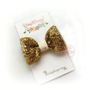 Fancy Holiday Glitter Bow Gold Sparkle Baby Hair Clips / Newborn Hair Clips / Itty Bitty Baby Bow Clips / Toddler Girls Simple Bow Clips