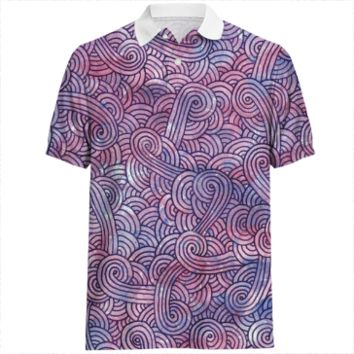 Purple swirls doodles Polo Shirt