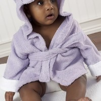 Infant Girl's Baby Aspen 'Hug a Lot Amus' Hooded Robe - Purple