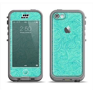 The Teal Leaf Laced Pattern Apple iPhone 5c LifeProof Nuud Case Skin Set