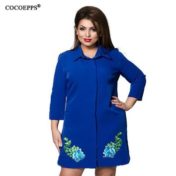 Elegant Printed Chiffon dresses big sizes casual loose dress Long sleeves plus size clothing shirt