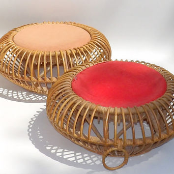 Pouf Ottomans Pair Franco Albini Style Rattan Wicker Seagrass Woven Foot Stools Side Tables 1950s Mid Century Modern Decor Original Cushions