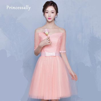 Peach Bridesmaid Dress Half Sleeve Sexy Boat Neck Tulle  Wedding Guest Dresses Cheap Under 50 Vestido De Festa De Casamento