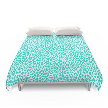 Society6 Turquoise Leopard Duvet Cover