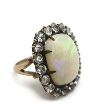 Opal Ring - 10k Rose Gold - Antique Victorian Opal Engagement Ring Quartz, White Topaz, Sapphire October Birthstone Opal Jewlery