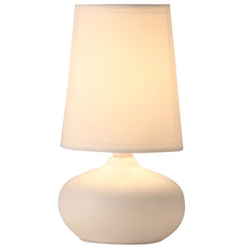 Light Accents Table Lamp Oval Ceramic Table Lamp with Fabic Shade Off White Finish