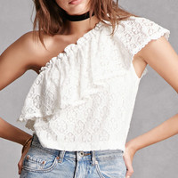 Lush One-Shoulder Lace Top