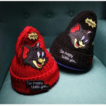 LMFOK2 OPAL FERRIE - New  Tom and Jerry beanie knit hat skullie cartoon CAT patch bonnet hat