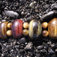 The Double-Striped Tiger IV - Red, Green and Gold Tiger's Eye Stone Bracelet