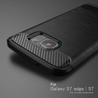 For Samsung Galaxy S7 S7 Edge Carbon Fiber Texture Brushed Silicone case for Samsung Galaxy S7 S7 Edge soft back cover case