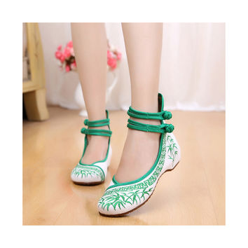 Vintage Bamboo Style Embroidered Old Beijing Cloth Shoes Green for Woman Online with Colorful Ankle Straps