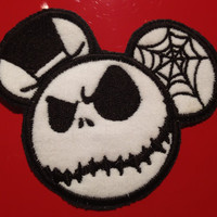 Jack Skellington Mouse Ear Embroidered Patch Disney Nightmare Before Christmas