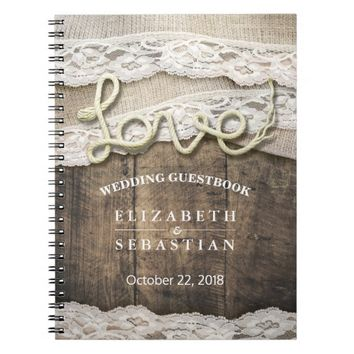 Rustic Country Wood Love Rope Wedding Guestbook Spiral Notebook
