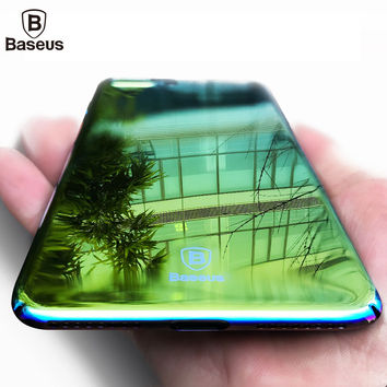 Baseus Brand Aurora Light Phone Case For iPhone 7 7Plus Ultra Clear Mirror Plating Hard Coque Cover For Apple iPhone 7 Plus Case