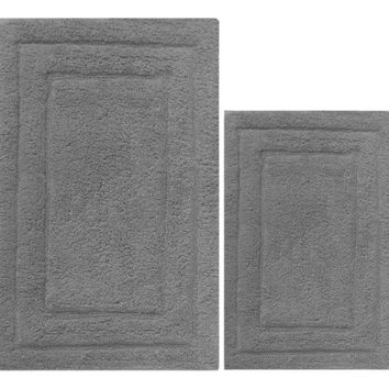 Skid Free 2 Piece Cotton Bath Rug Set, Mid Gray