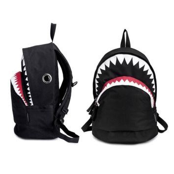 Women's Canvas Sturdy Shark Backpack for School Travel Bag Daypack Black