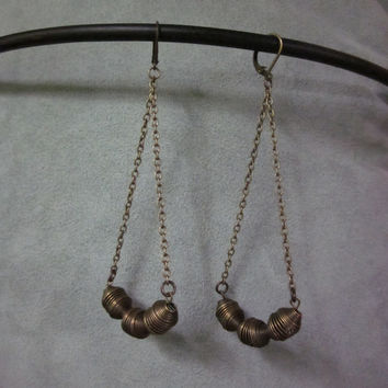 Dangle Earrings    - Brass Chain and Coiled Brass Beads