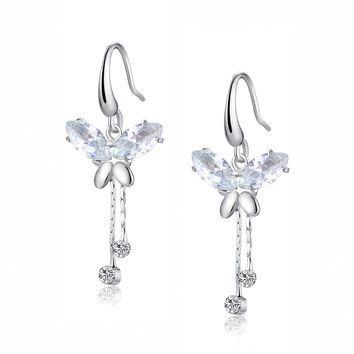 Cubic Zirconia Butterfly Breeze Earrings (Clear)