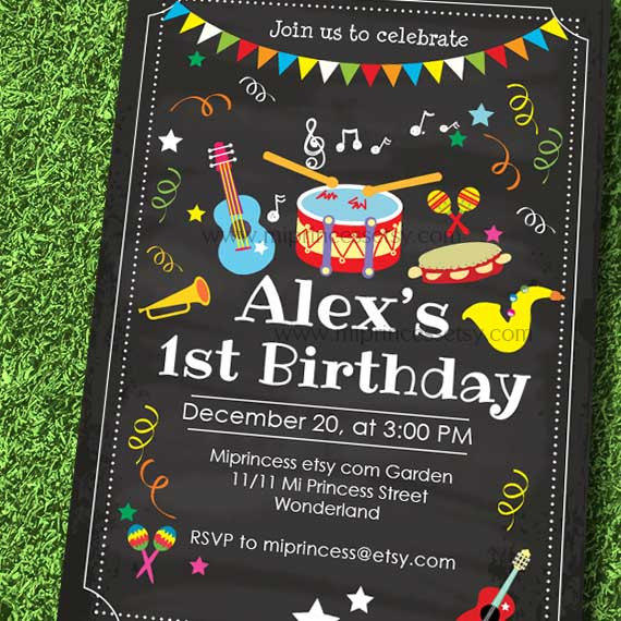 Music Birthday Invitation, Kids Any Age, From Miprincess