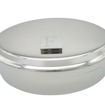 Letter F Etched Monogram Pendant Oval Trinket Jewelry Box