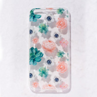 Clear Multicolor Floral succulent  flower iPhone 6S/ 6 case